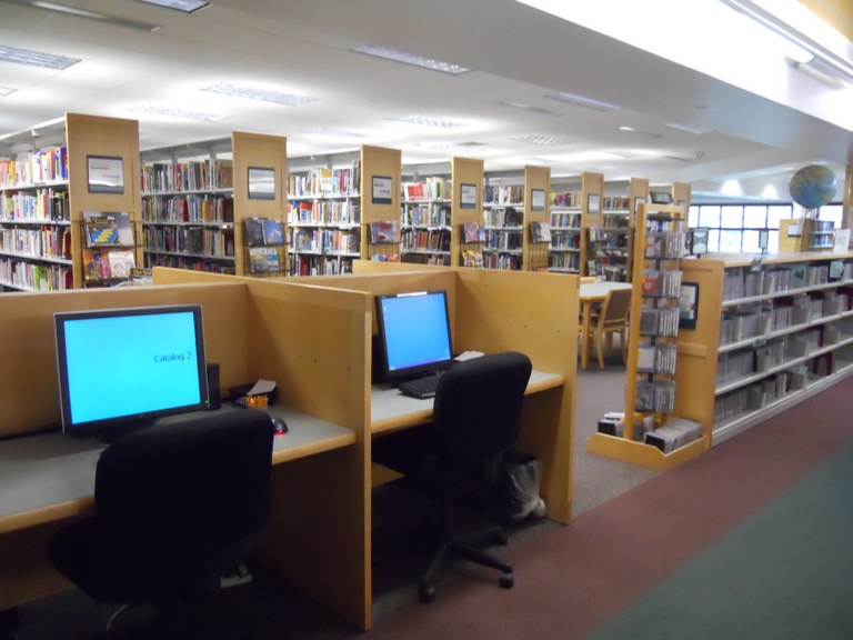 Computers with the library's catalog