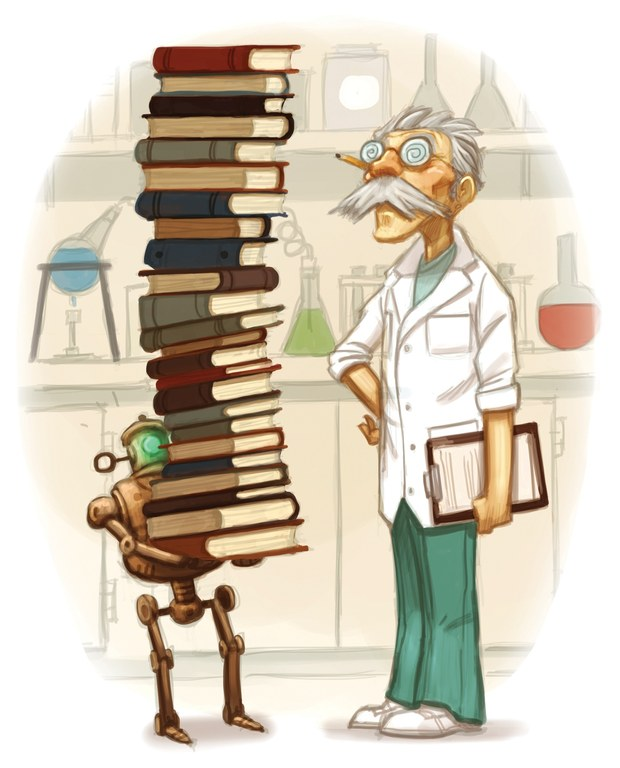 Scienctist with books